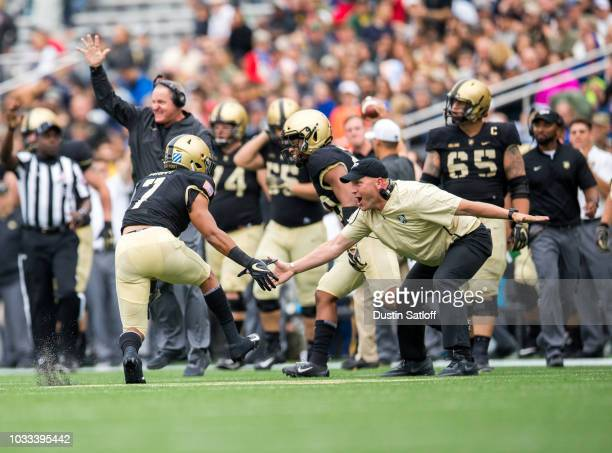 Jaylon McClinton of the Army Black Knights reacts after a stop on fourth down during the game against the Liberty Flames at Michie Stadium on...