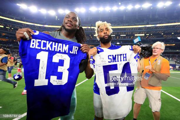 Jaylon Smith of the Dallas Cowboys and Odell Beckham Jr #13 of the New York Giants exchange game jerseys after the Dallas Cowboys beat the New York...