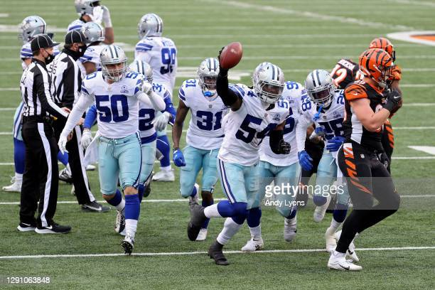 Jaylon Smith of the Dallas Cowboys celebrates after recovering a fumble in the first quarter against the Cincinnati Bengals at Paul Brown Stadium on...
