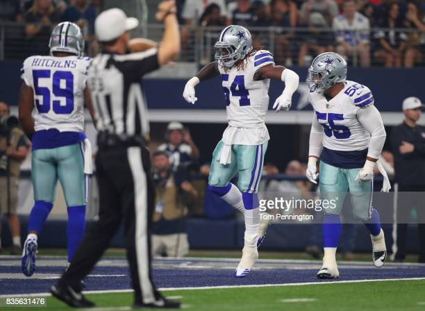Jaylon Smith of the Dallas Cowboys celebrates his first tackle against the Indianapolis Colts in a preseason game at ATT Stadium on August 19 2017 in...