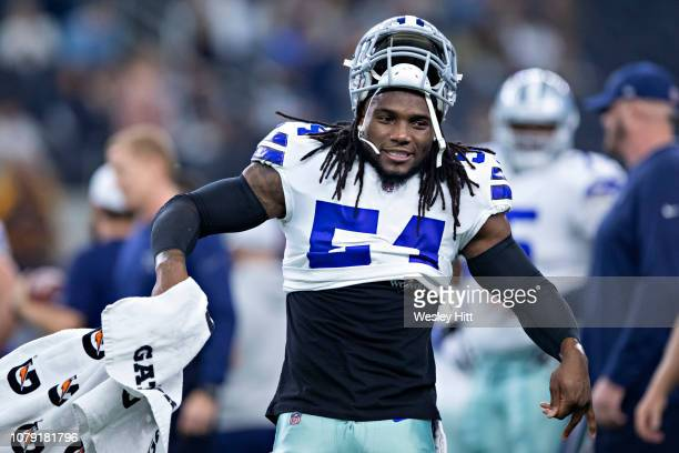 Jaylon Smith of the Dallas Cowboys warms up before a game against the Washington Redskins at ATT Stadium on November 22 2018 in Arlington Texas The...