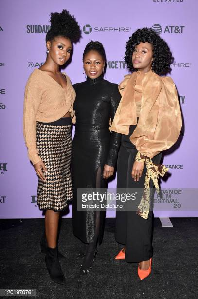 Jayme Lawson Zainab Jah and Nana Mensah attend the 2020 Sundance Film Festival Farewell Amor Premiere at Library Center Theater on January 25 2020 in...