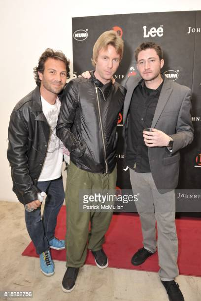 Jayme Rosenthal Elijah Blue and Aaron Axelrod attend Elijah Blue And Kantor Gallery Present 'StepandRepeat' at Kantor Gallery on February 24 2010 in...