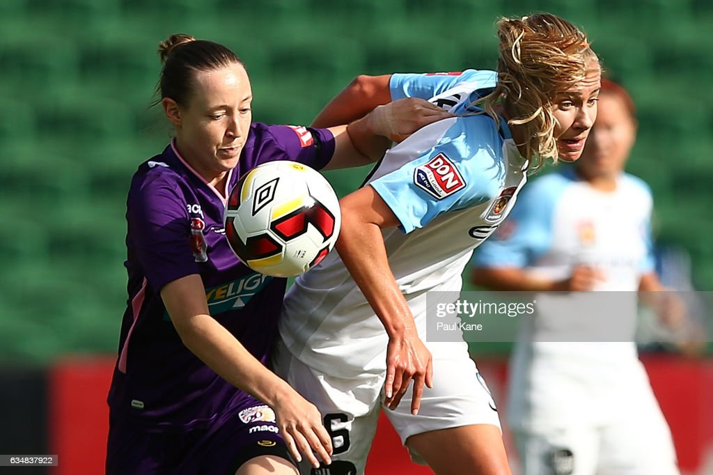 Jaymee Gibbons of the Perth Glory and Beverly Yanez of Melbourne City contest for the ball during the 2017 W-League Grand Final match between the Perth Glory and Melbourne City FC at nib Stadium on February 12, 2017 in Perth, Australia.