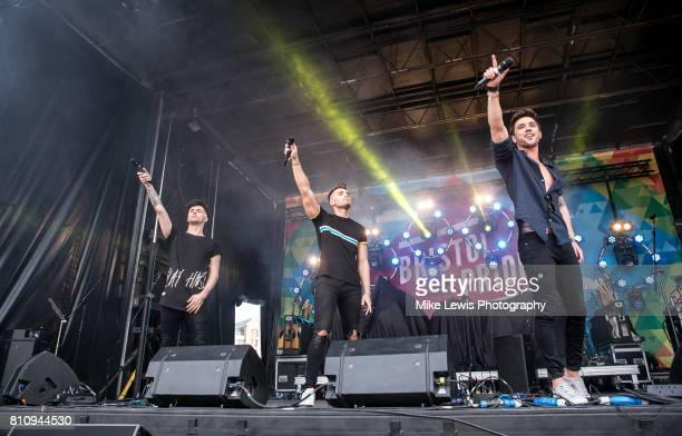 Jaymi Hensley JJ Hamblett and Josh Cuthbert of Union J Perform on stage at Bristol Pride on July 8 2017 in Bristol England
