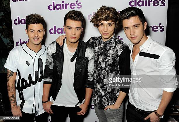 Jaymi Hensley Josh Cuthbert George Shelley and JJ Hamblett of Union J attend Claire's Halloween Party featuring a secret performance by Union J at...