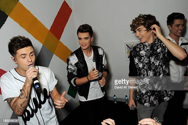 Jaymi Hensley Josh Cuthbert George Shelley and JJ Hamblett of Union J perform at Claire's Halloween Party featuring a secret performance by Union J...
