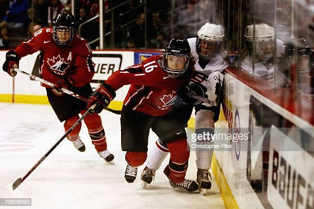 Jayna Hefford of Canada skates ahead of Natalie Darwtiz of the USA during the IIHF Women's World Championship Gold Medal game on April 10 2007 at MTS...