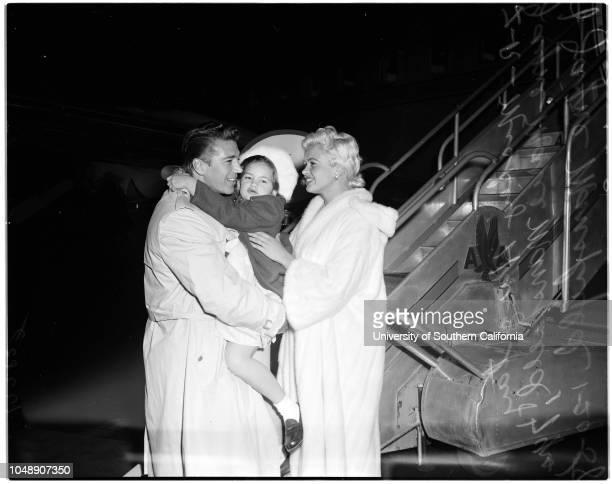 Jayne and Mickey 20 January 1958 Jayne MansfieldMickey HargitayJayne Mansfield 7 years Caption slip reads 'Photographer Olmo Date Reporter Brown...