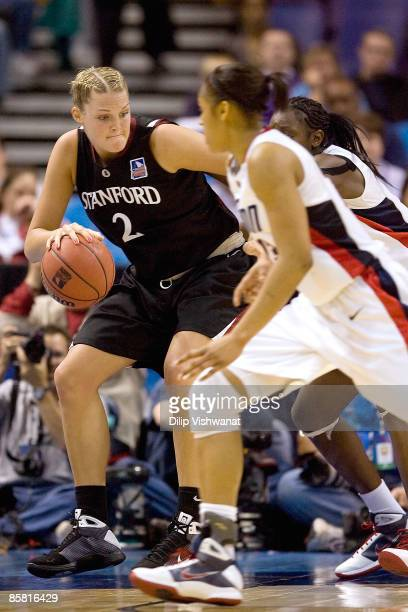 Jayne Appel of the Stanford Cardinal drives to the basket against the Connecticut Huskies on April 5 2009 during the NCAA Women's Final Four...