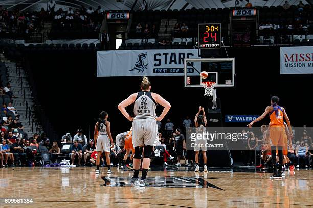 Jayne AppelMarinelli of the San Antonio Stars looks on during the game against the Phoenix Mercury at the ATT Center on September 18 2016 in San...