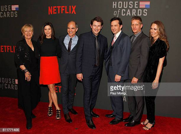 Jayne Atkinson, Neve Campbell, Michael Kelly, Derek Cecil, Nathan Darrow, Paul Sparks, and Elizabeth Marvel attend the portrait unveiling and season...