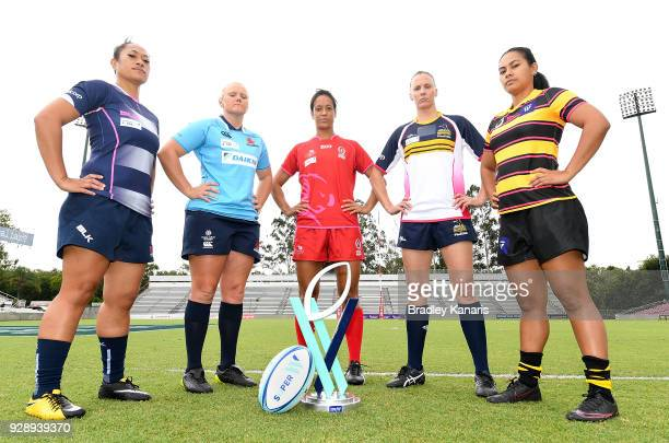 Jayne Kareroa of the Rebels Emily Robinson of the Waratahs Kirby Sefo of the Reds Shellie Milward of the Brumbies and Trileen Pomare of the Force...
