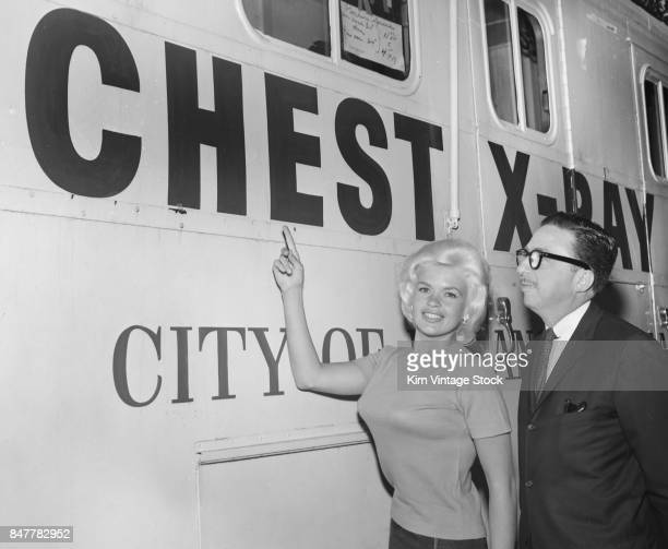 Jayne Mansfield promotes a mobile chest xray medical unit for the City of Los Angeles
