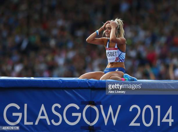 Jayne Nisbet of Scotland reacts after a failed jump in the Women's High Jump final at Hampden Park during day nine of the Glasgow 2014 Commonwealth...