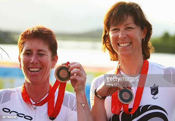 Jayne Parsons and Annaliisa Farrell of New Zealand win the Bronze in the Road Cycling Women's Time Trial at the Triathlon Venue during day six of the...