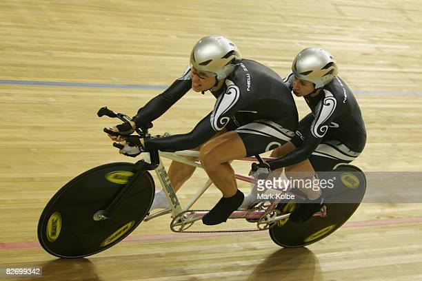 Jayne Parsons and her pilot rider Annaliisa Farrell of New Zealand compete in the women's 1KM Time Trial in the Track Cycling event at Laoshan...