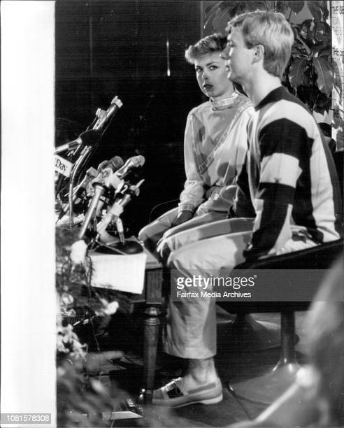 Jayne Torvill adn Christopher Dean the English Ice skaters Champions Press Conference at Sebel Town House today May 04 1984