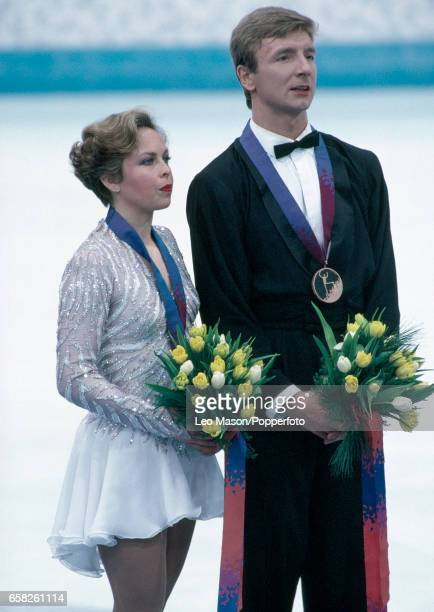 Jayne Torvill and Christopher Dean after winning the bronze medal in the ice dancing competition during the Winter Olympic Games in Lillehammer...