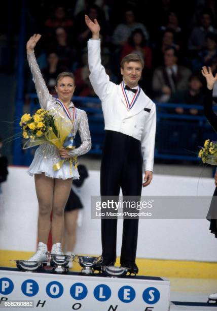 Jayne Torvill and Christopher Dean celebrating winning the British Ice Dancing Championship in Sheffield circa 1994