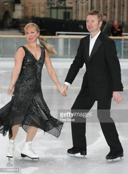 Jayne Torvill and Christopher Dean during 'Dancing on Ice' TV Press Launch at Natural History Museum in London Great Britain