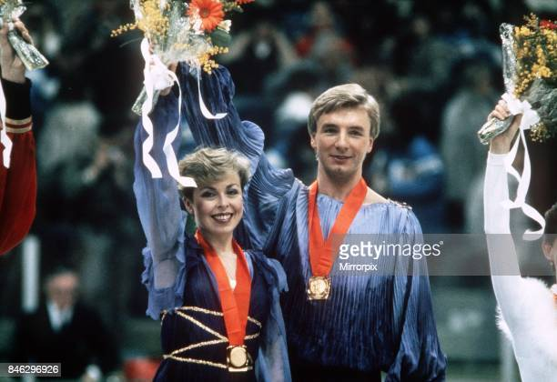 Jayne Torvill and Christopher Dean Feb 1984 win The Gold Medal for Great Britain in the Olympic Ice Dance Championships in Sarajevo
