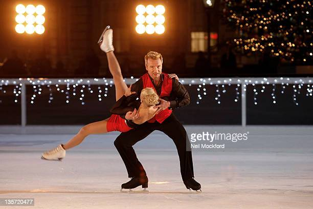 Jayne Torvill and Christopher Dean film a Pop Video on the Somerset House Ice Rink For ITV Text Santa A New Seasonal Charity Programme at Somerset...