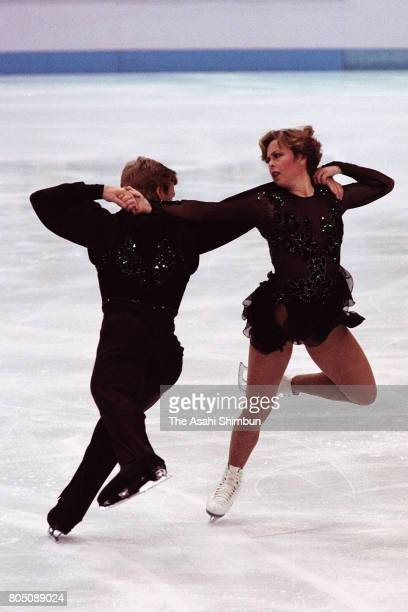 Jayne Torvill and Christopher Dean of Great Britain compete in the Figure Skating Ice Dance Original Dance during the Lillehammer Winter Olympic...