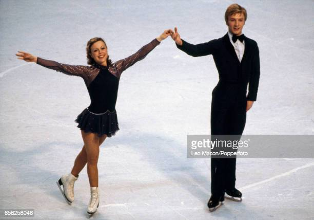 Jayne Torvill and Christopher Dean of Great Britain enroute to placing fifth in the ice dancing event during the Winter Olympic Games in Lake Placid...