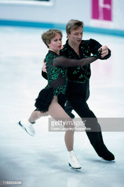 Jayne Torvill and Christopher Dean of Great Britain perform their original program in the Ice dancing competition during the 1994 Winter Olympics at...