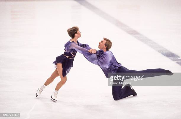 Jayne Torvill and Christopher Dean of the United Kingdom compete in the Ice Dancing competition of the 1984 Winter Olympics held at the Zetra Ice...
