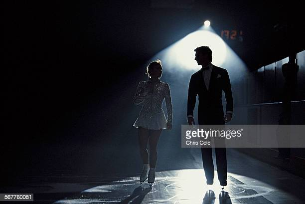 Jayne Torvill and Christopher Dean prepare to practice their Free Programme routine on 27 January 1994 in Milton Keynes United Kingdom