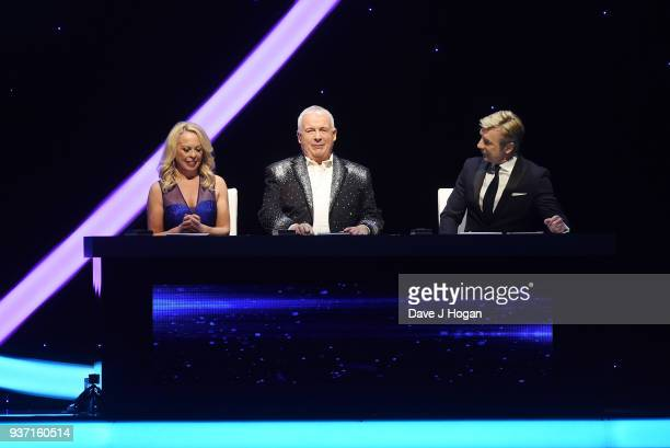 Jayne Torvill, Christopher Biggins and Christopher Dean during the Dancing on Ice Live Tour - Dress Rehearsal at Wembley Arena on March 22, 2018 in...
