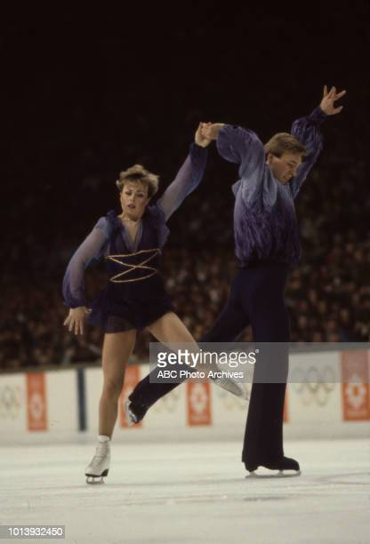 Jayne Torvill Christopher Dean competing in the Ice dancing event at the 1984 Winter Olympics / XIV Olympic Winter Games Zetra Ice Hall
