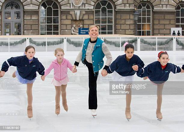 Jayne Torvill with the help of 54 London children launches Somerset House Ice Rink on November 20 2007 in London