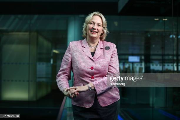 JayneAnne Gadhia chief executive officer of Virgin Money Ltd poses for a photograph following a Bloomberg Television interview in London UK on...