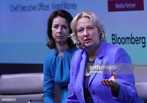 JayneAnne Gadhia chief executive officer of Virgin Money Ltd right speaks alongside Helena Morrissey chairman of Newton Investment Management Ltd...