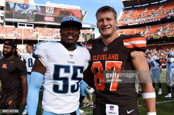 Jayon Brown of the Tennessee Titans and Seth DeValve of the Cleveland Browns pose for a picture after the gameat FirstEnergy Stadium on October 22...