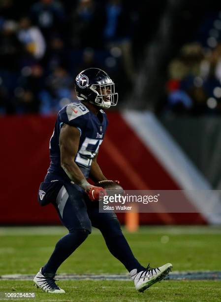 Jayon Brown of the Tennessee Titans celebrates a sack during the fourth quarter against the Jacksonville Jaguars at Nissan Stadium on December 6 2018...