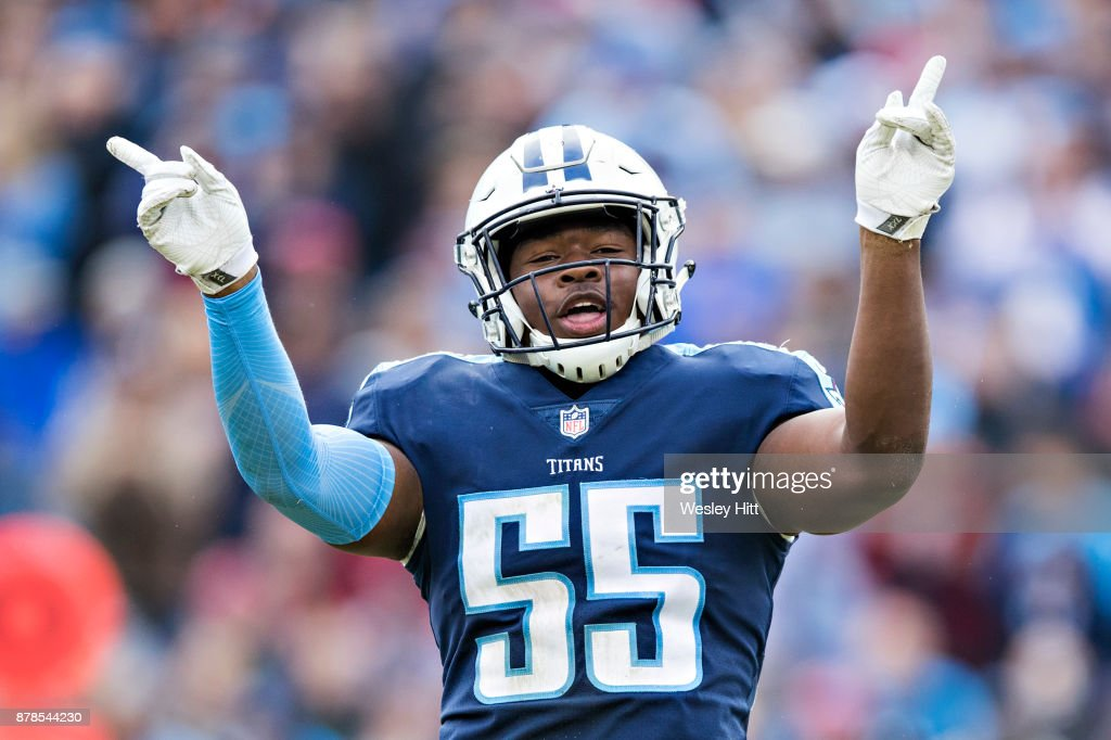 Jayon Brown #55 of the Tennessee Titans celebrates after a big play during a game against the Cincinnati Bengals at Nissan Stadium on November 12, 2017 in Nashville, Tennessee. The Titans defeated the Bengals 24-20.
