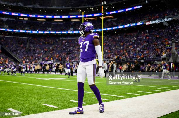 Jayron Kearse of the Minnesota Vikings on the field before the game against the Denver Broncos at US Bank Stadium on November 17 2019 in Minneapolis...