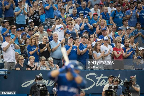 Jays fans give Toronto Blue Jays Right fielder Jose Bautista a standing ovation in what may be one of his last at home at bats in a Blue Jays uniform...