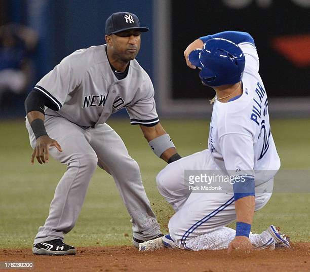Jays Kevin Pillar tries to steal 2nd base but is easily thrown out and tagged by Eduardo Nunez. Toronto Blue Jays host New York Yankees at Roger's...
