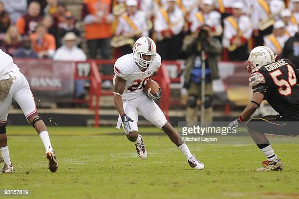 Jaysin Hosley of the Virginia Tech Hokies returns a punt during a college football game against the Maryland Terrapins on November14, 2009 at Capital...