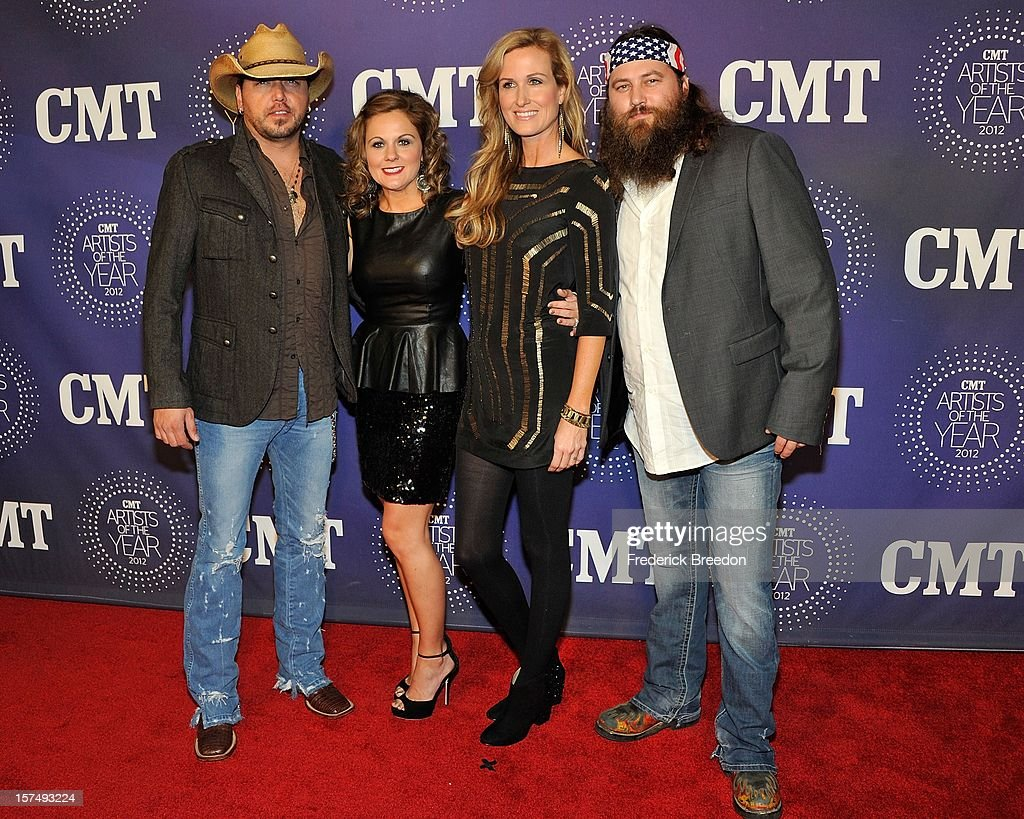 Jayson Aldean, Jessica Aldean, Korie Robertson, and Willie Robertson arrives at the 2012 CMT Artists Of The Year at The Factory At Franklin on December 3, 2012 in Franklin, Tennessee.