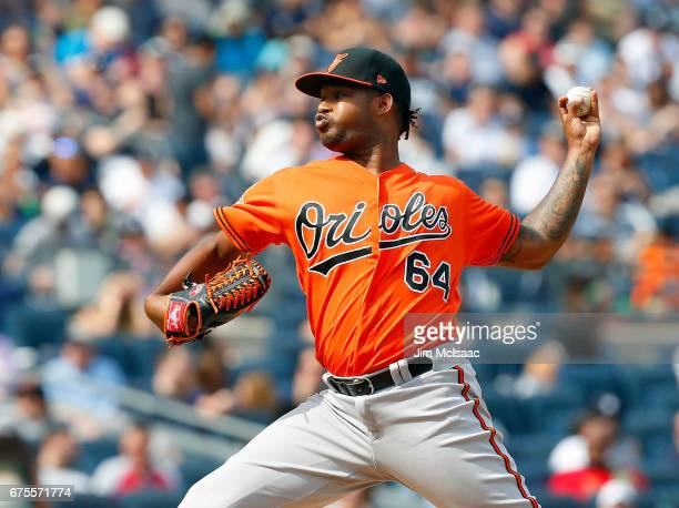 Jayson Aquino of the Baltimore Orioles in action against the New York Yankees at Yankee Stadium on April 29 2017 in the Bronx borough of New York...