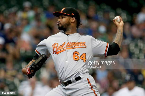 Jayson Aquino of the Baltimore Orioles pitches in the first inning against the Milwaukee Brewers at Miller Park on July 5 2017 in Milwaukee Wisconsin