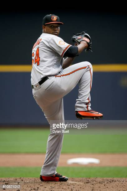 Jayson Aquino of the Baltimore Orioles pitches in the second inning against the Milwaukee Brewers at Miller Park on July 05 2017 in Milwaukee...