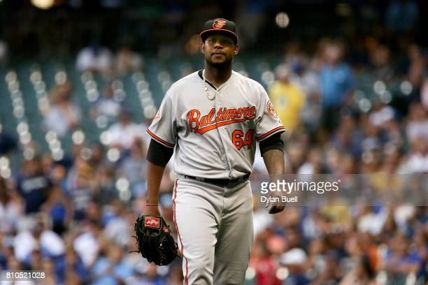 Jayson Aquino of the Baltimore Orioles walks off the field after being relieved in the sixth inning against the Milwaukee Brewers at Miller Park on...