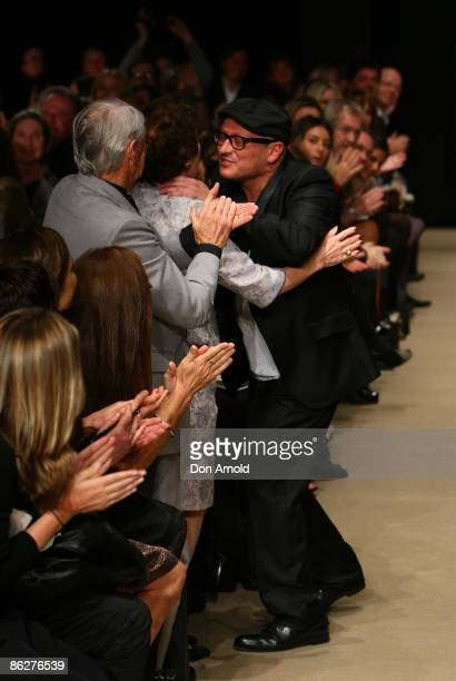 Jayson Brunsdon is congratulated by family and friends on the catwalk at the Overseas Passenger Terminal, Circular Quay on day three of Rosemount...